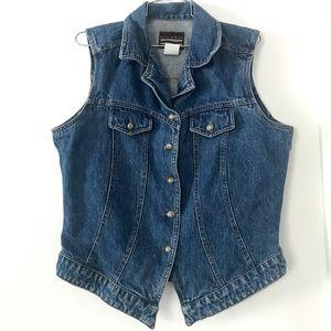 Vintage 1990's denim vest western style jean shirt